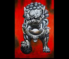 foo fu dog dog painting foo dogs painting feng shui artwork painting