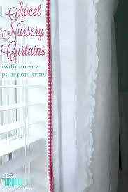 White Curtains With Pom Poms Decorating Sweet Nursery Curtains With No Sew Pom Pom Trim The Turquoise Home