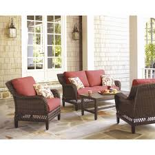 Home Depot Create Your Own Collection by Hampton Bay Woodbury 4 Piece Patio Seating Set With Chili Cushion