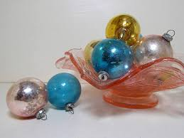 pastel color feather tree glass ornaments original box