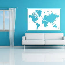world map frame wall mural vinyl decal kids teens dorms livingroom