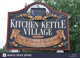 kitchen kettle village sign a tourist shopping center in stock