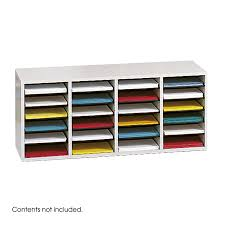 Desk Mail Organizer by Wood Adjustable Literature Organizer 24 Compartment Safco Products