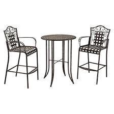 Black Bistro Chairs Mandalay 3 Piece Iron Bar Height Patio Bistro Furniture Set