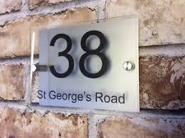 glass door number signs modern house sign plaque door number name glass effect aluminium