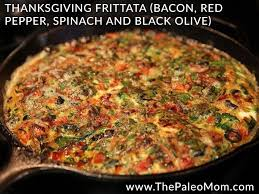 thanksgiving frittata bacon pepper spinach and black olive