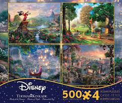 4 in 1 kinkade disney dreams multi pack 500 jigsaw puzzle