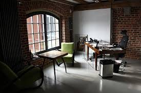 office workspace creative office ideas alongside natural brick creative office ideas alongside natural brick wall themes with circle windows and