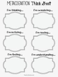 metacognition think sheets to improve reading comprehension