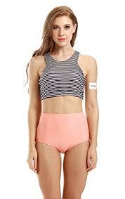 high waisted swimsuits amazon com creabygirls womens high waist 2 piece bikini swimsuit