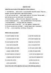 english worksheets adjective order worksheets page 7