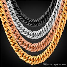 plated rose gold necklace images 2018 u7 men gold link chain necklace bracelet 6mm 5 sizes gold jpg
