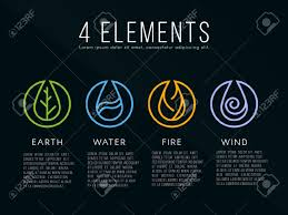nature 4 elements icon sign water earth air on