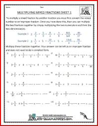 multiplying mixed fractions fifth grade fraction worksheets 4th
