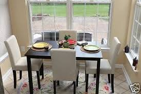 White Parsons Dining Table 5pc Espresso Dining Room Kitchen Set Table 4 Ivory White Parson