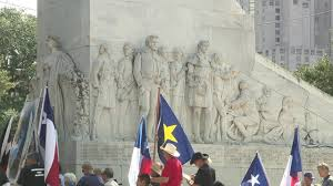 Alamo Flag Protesters Rally To Prevent Removal Of Cenotaph At Alamo Plaza