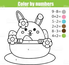 coloring page with easter bunny character color by numbers math