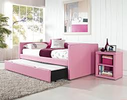 girls trundle daybed which beautify with pink vinyl upholstered