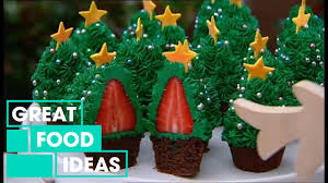 make your own strawberry christmas tree cupcakes food great