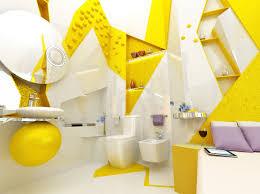 yellow white open plan ensuite bathroom interior design ideas