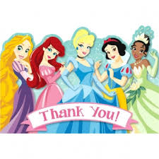 disney princess 1st birthday thank you cards with sticker seals 8