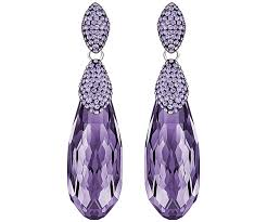 purple earrings height pierced earrings purple rhodium plating jewelry