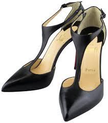 christian louboutin black leather j string 100 kid t strap heels