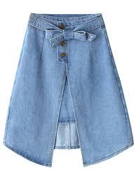 denim skirts bownot front slit denim skirt light blue skirts s zaful