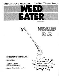 weed eater trimmer 1209 user guide manualsonline com