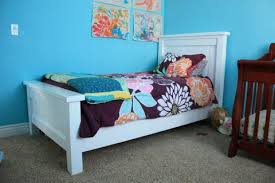 Farmhouse Bed Frame Plans White Farmhouse Bed Diy Projects Regarding White Wood
