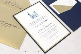 chicago wedding invitations ivory gold and navy blue panel pocket wedding invitation st