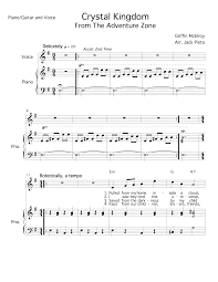 crystal kingdom sheet music for piano guitar and voice from the