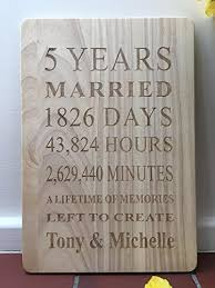 fifth anniversary gift engraved wooden 5 years plaque personalised 5th fifth anniversary