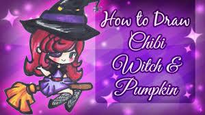 how to draw chibi witch u0026 pumpkin halloween special youtube