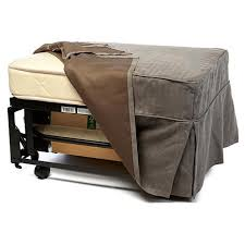convertible ottoman bed with single mattress and slip cover