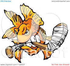 cartoon of an aggressive goldfish biting a hockey stick royalty