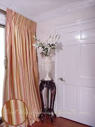 Two Tone Drapes Thai Silk Pleated Draperies In Two Tone Stripes Pink Yellow