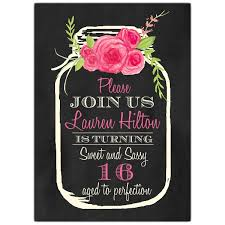 pink floral jar sweet 16 invitations paperstyle