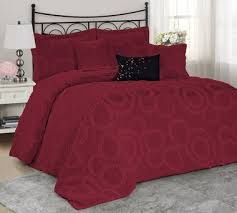 Burgundy Duvet Sets 7 Piece Rosalie Bed In A Bag Ruffled Circle Comforter Sets Queen