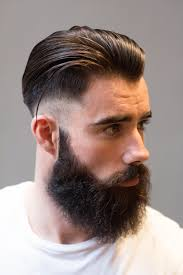 short hair undercut with beard fade haircut