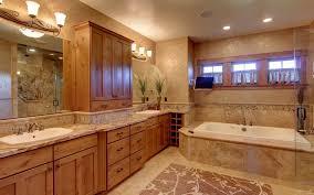 craftsman master bathroom with drop in bathtub double sink progress lighting joy