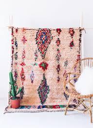 moroccan vintage ourika boucherouite rug wall hanging pink