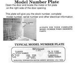 Roper Dishwasher Parts Whirlpool Sears Kenmore Roper Dishwasher Model No American Service