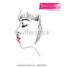 beautiful woman face makeup sketch hand stock vector 583310197