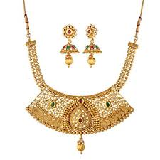 chain necklace design images Buy apara jalebi copper like design multicolor kundan and ball jpg