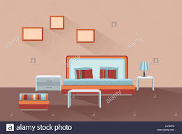 home room interior bedroom furniture with bed stock vector art