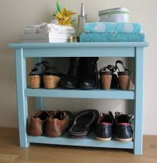 Entryway Furniture Storage Table With 2 Shelves Blue Painted Shoe Table Shoe Bench