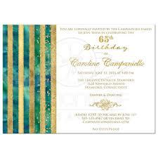 65th birthday invitation peacock blue green watercolors gold