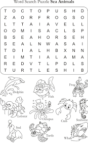 word search puzzle sea animals learning for kids pinterest