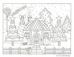 coloring pages houses gingerbread house winter scene coloring page pdf instant